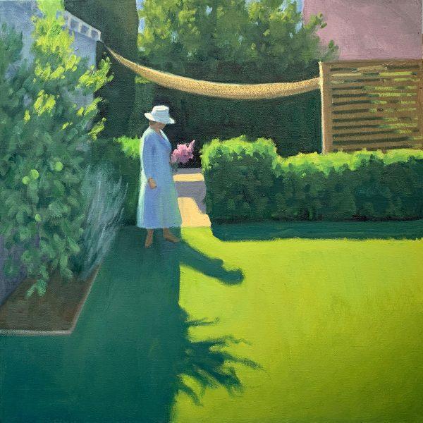 "Anne in the Garden, 20"" x 20"", oil on canvas"