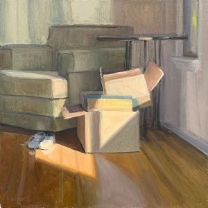 """Claire's Shoes, 20"""" x 20"""", oil on canvas"""