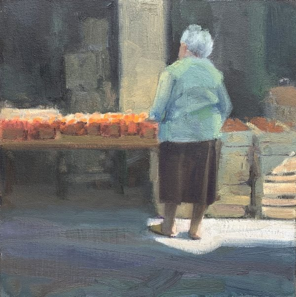 """Morning at the Carpentras Market, 12"""" x 12', oil on panel"""