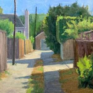 """My Back Alley, 10"""" x 12"""", oil on panel"""